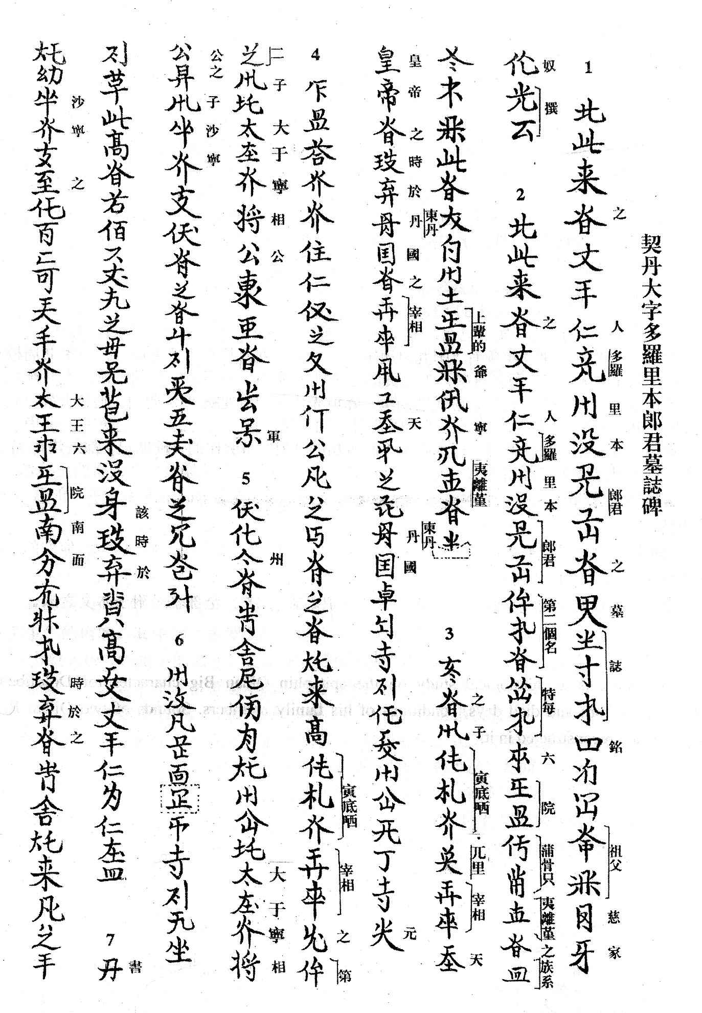 Transcription Khitan Memorial Stone