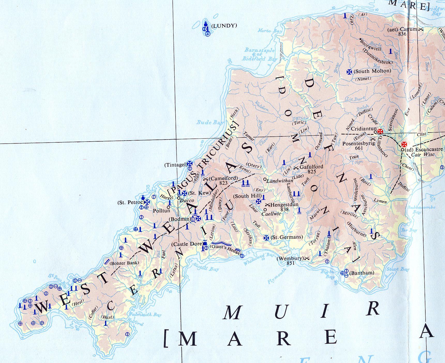 Map Of Cornwall - Darkagescornwall